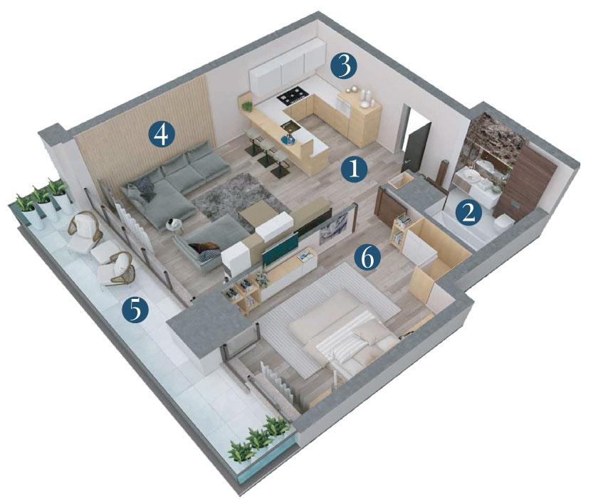 Bella Vita Apartments: Apartament 2 Camere Tip A5 3